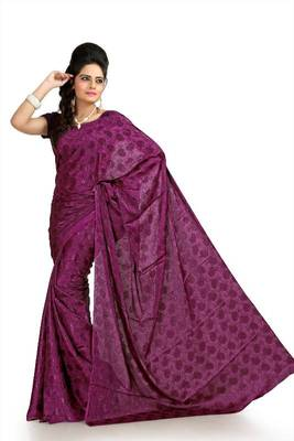 Dark magenta silk crepe jacquard saree with blouse (msk1064)