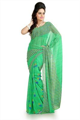 Paris green chiffon saree with blouse (bvr938)