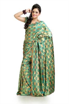 Teal green and beige silk crepe jacquard saree with unstitched blouse (msk1068)