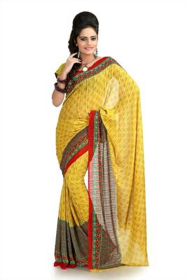 Yellow chiffon saree with blouse (bvr940)