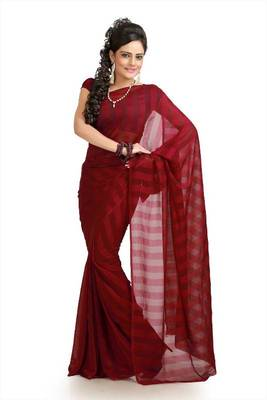 Maroon chiffon saree with blouse (bvr952)