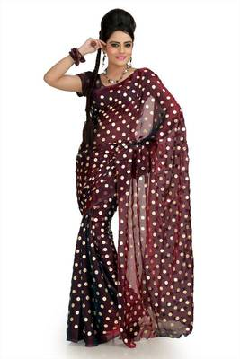 Maroon satin tissue saree with unstitched blouse (msk1077)