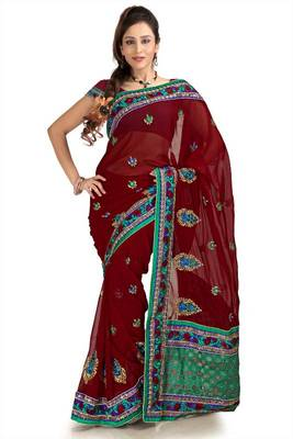 Maroon chiffon saree with unstitched blouse (knk1151)