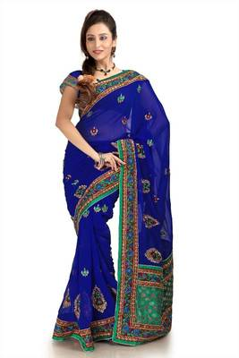 Royal blue chiffon saree with unstitched blouse (knk1152)