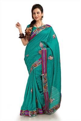Teal bhagalpuri silk saree with unstitched blouse (knk1156)