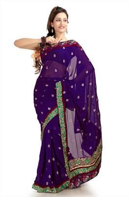Purple chiffon saree with unstitched blouse (knk1159)