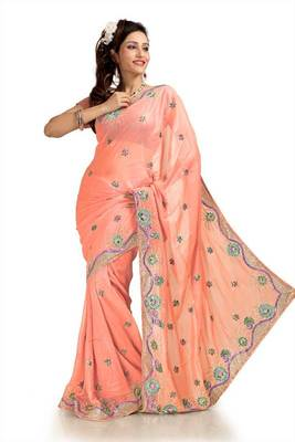 Peach faux shimmer georgette saree with unstitched blouse (knk1161)