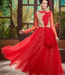 Red embroidered net party-wear-gowns