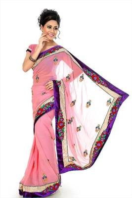 Pretty pink chiffon saree with unstitched blouse (dpl1283)