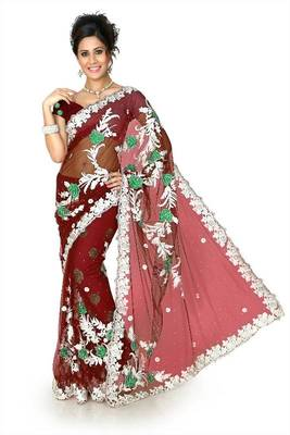 Maroon net saree with unstitched blouse (dpl1286)