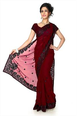 Maroon faux georgette saree with unstitched blouse (dpl1288)