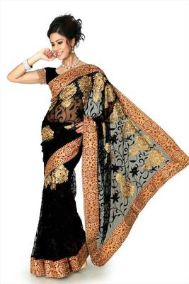 Black net saree with unstitched blouse (dpl1292)