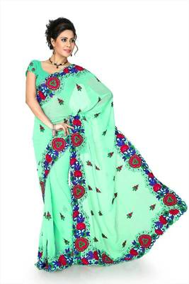 Light green chiffon saree with unstitched blouse (dpl1294)