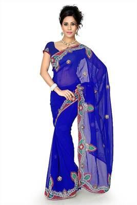 Dark blue chiffon saree with unstitched blouse (dpl1296)