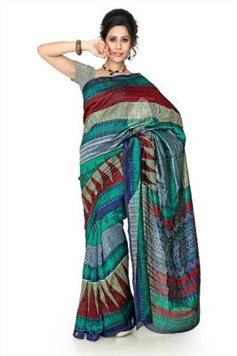 Multicolor bhagalpuri silk saree with unstitched blouse (dpl1304)