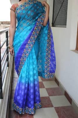 Blue& Purple Butta Saree
