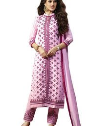 Buy Light pink embroidered cotton unstitched salwar with dupatta gifts-for-sister online