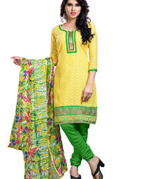 Buy Yellow embroidered cotton unstitched salwar with dupatta gifts-for-sister online