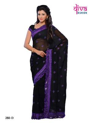 Witchery party wear designer saree made from Georgette