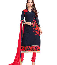 Buy Navy blue embroidered cotton unstitched salwar with dupatta gifts-for-sister online