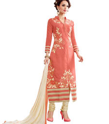 Buy Peach embroidered cotton unstitched salwar with dupatta gifts-for-sister online