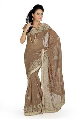 Pale brown faux georgette saree with unstitched blouse (avn637)