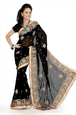 Black faux georgette saree with unstitched blouse (avn638)