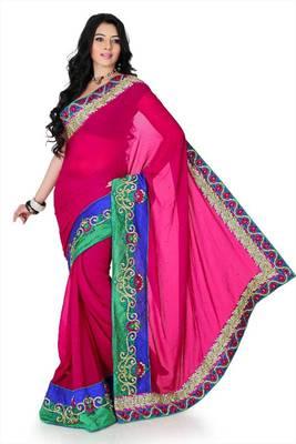 Deep magenta chiffon saree with unstitched blouse (myr1224)