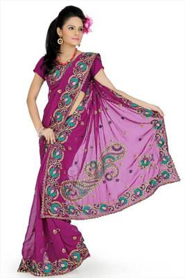 Deep Magenta faux georgette saree with unstitched blouse (avn648)