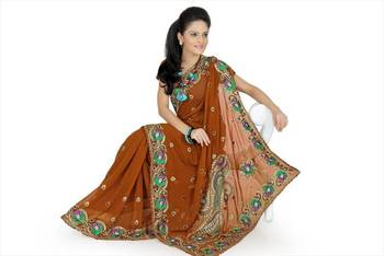 Deep mustard faux georgette saree with unstitched blouse (avn649)