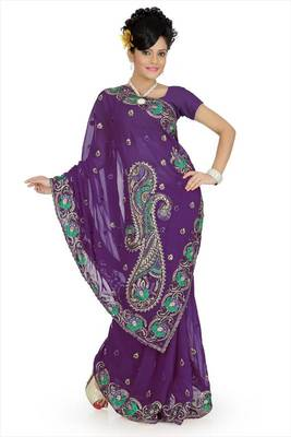 Royal purple faux georgette saree with unstitched blouse (avn650)