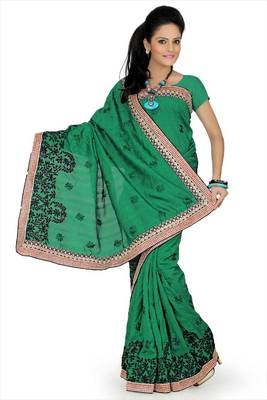 Green bhagalpuri silk saree with unstitched blouse (avn655)