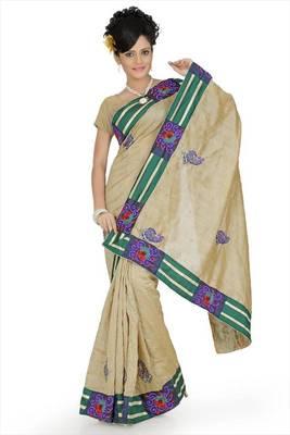 Beige bhagalpuri silk saree with unstitched blouse (avn659)