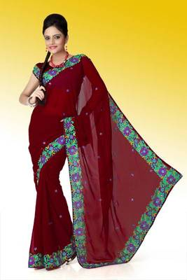 Maroon faux georgette saree with unstitched blouse (ant601)
