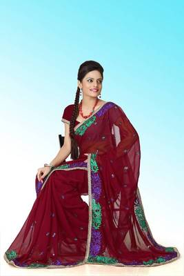 Maroon faux georgette saree with unstitched blouse (ant605)
