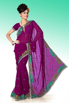 Wine faux georgette saree with unstitched blouse (ant607)