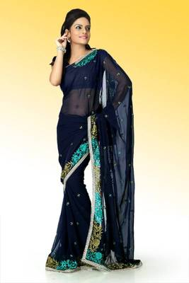 Navy blue faux georgette saree with unstitched blouse (ant608)