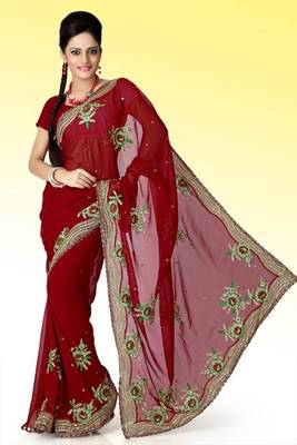 Maroon faux georgette saree with unstitched blouse (ant614)