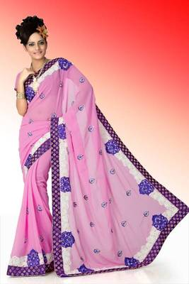 Pretty pink faux georgette saree with unstitched blouse (ant622)
