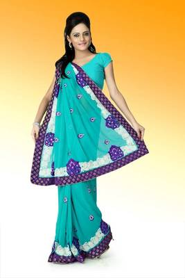 Medium Turquoise faux georgette saree with unstitched blouse (ant624)