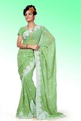 Apple green faux georgette saree with unstitched blouse (ant626)