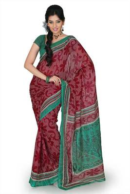 Maroon and deep green Cotton saree with unstitched blouse (mhk1255)