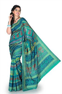 Turquoise bhagalpuri silk saree with unstitched blouse (mhk1259)