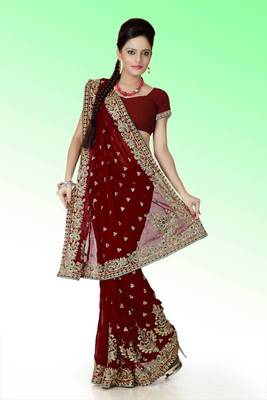 Maroon faux georgette saree with unstitched blouse (ant633)