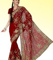 Buy Maroon faux georgette saree with unstitched blouse (ant634) georgette-saree online
