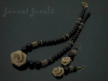 Black beaded and Rose Flower Golden necklace with earrings
