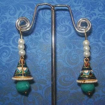 Meenakari Shanku Over the Ear Earring (Pearl Blue)