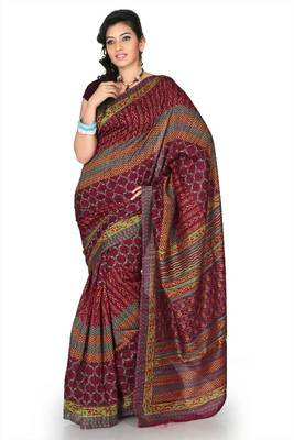 Mustard bhagalpuri silk saree with unstitched blouse (mhk1263)