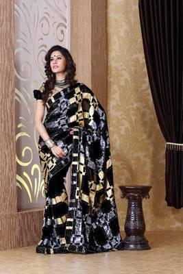 Black faux georgette saree with unstitched blouse (bmc1309)