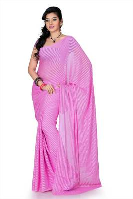 Pink brasso saree with unstitched blouse (mhk1268)